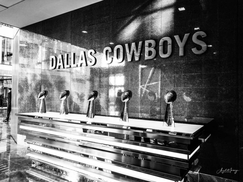 Image of the Dallas Cowboy's Super Bowl Trophies at the Star in Frisco